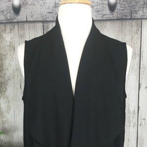 NWOT Black Knit Open Drape Vest w/Drawstring Waist